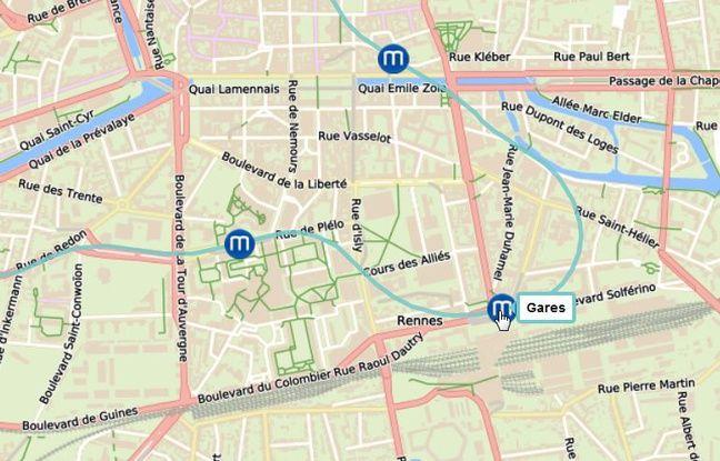 Plan du parcours du tunnelier Elaine, ici dans le centre-ville de Rennes.