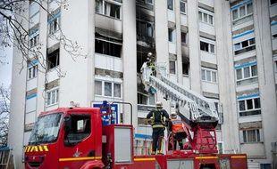 L'immeuble incendié à Saint-Denis (Seine-Saint-Denis) le 22 janvier 2012.