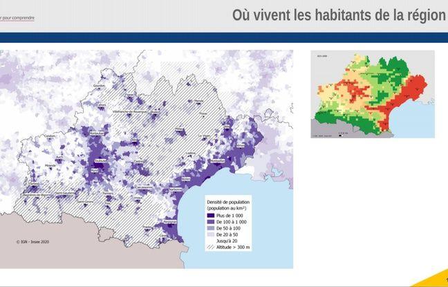 Répartition de la population corrélée aux hausses de températures à venir en Occitanie.