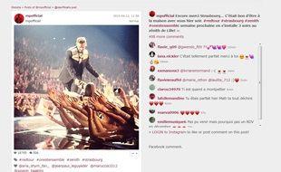 M.Pokora remercie ses fans strasbourgeois sur Instagram.