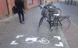 Le cycliste, doublement greffé, a fait étape à Strasbourg, où il se fait voler son fidèle compagnon de route malgré toutes ses précautions (illustration)