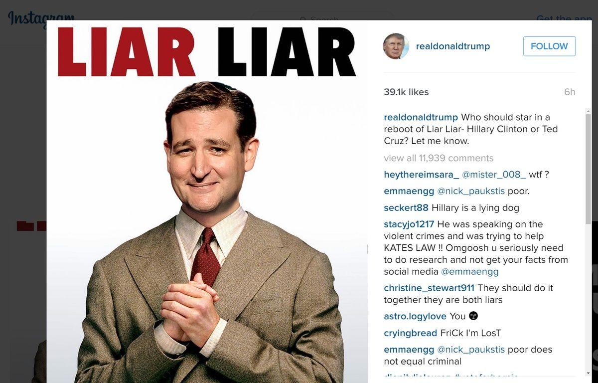 Photomontage de Ted Cruz sur l'affiche du film «Menteur, menteur» publié par Donald Trump. – INSTAGRAM/D.TRUMP