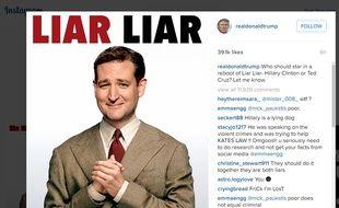 Photomontage de Ted Cruz sur l'affiche du film «Menteur, menteur» publié par Donald Trump.