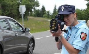 Illustration gendarmes contrôles vitesse. Opération effectuée par la gendarmerie du Bas -Rhin.