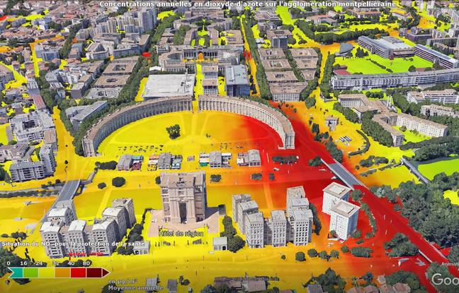 La carte réalisée par Atmo sur le secteur d'Antigone : en rouge, la qualité de l'air est très basse.