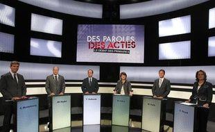Les six candidats de la primaire socialiste lors du débat sur France 2, jeudi 15 septembre 2011.