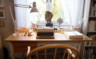Illustration: Le bureau d'écriture de l'autrice suédoise Astrid Lindgren dans son ancienne demeure de Stockholm, en Suède, le 13 novembre 2015.