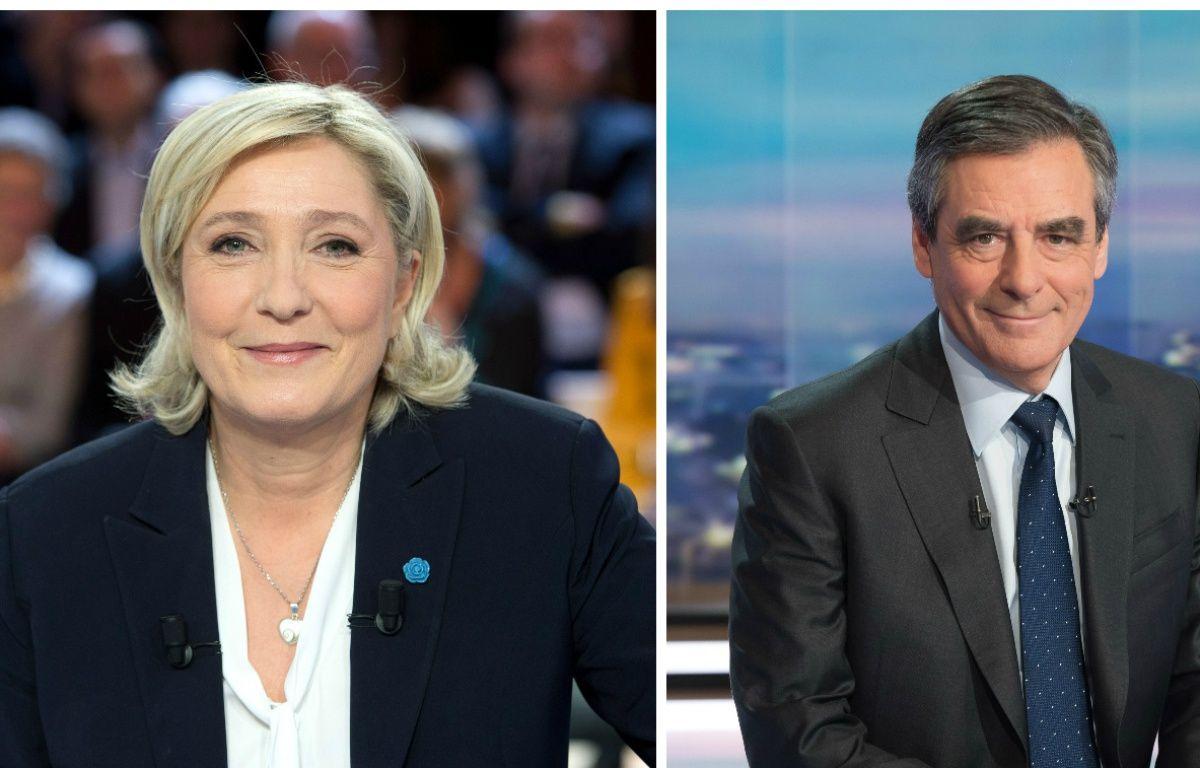 Collage Sipa/20 Minutes avec les candidats Marine Le Pen (FN) et François Fillon (Les Républicains) – Collage Sipa/20 Minutes