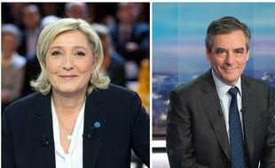 Collage Sipa/20 Minutes avec les candidats Marine Le Pen (FN) et François Fillon (Les Républicains)