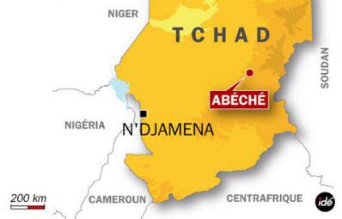 Carte de localisation d'Abéché, au Tchad, où un légionnaire français a pris la fuite après avoir tué deux autres légionnaires et un Togolais, le 7 avril 2009. – Idé