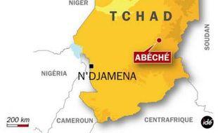 Carte de localisation d'Abéché, au Tchad, où un légionnaire français a pris la fuite après avoir tué deux autres légionnaires et un Togolais, le 7 avril 2009.