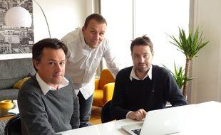 Lyon, le 14 février 2017. Grégory Bazin, Damien Chanrion et Guillaume Dadolle ont créé KiNOWU, premier réseau social de recommandations de professionnels entre particuliers.
