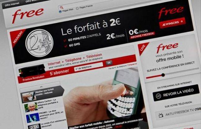 L'offre d'abonnement au mobilesur le siteInternet de Free, le 12 janvier 2012.