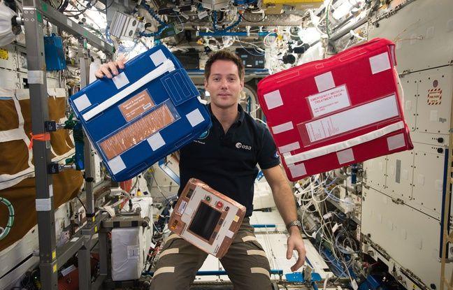 L'astronaute Thomas Pesquet à bord de l'ISS.