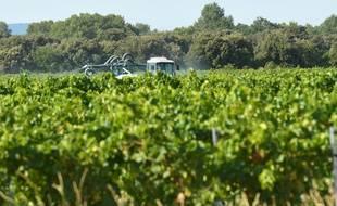 Un agriculteur en train d'épandre des produits phytosanitaires sur ses cultures.