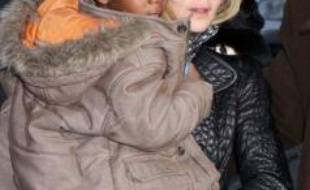 Madonna et son fils David à New York le 31 décembre 2009