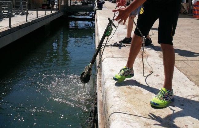 Un employé d'opérateur de trottinettes électriques aide les plongeurs de la SNC pour sortir les trottinettes de l'eau.