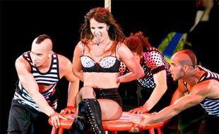 Britney Spears sur la scène du palais des sports d'Anvers, en Belgique, le 9 juillet 2009.
