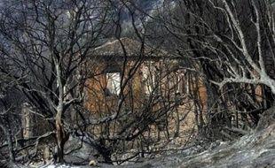 """Les incendies de forêt continuaient de ravager le Péloponnèse et l'île d'Eubée en Grèce mercredi, pour la sixième journée consécutive, mais étaient """"moins nombreux"""" et violents que les jours précédents"""