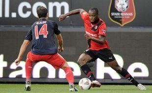 L'attaquant breton Jires Kembo, le 29 septembre 2011, contre l'Atletico Madrid, à Rennes.