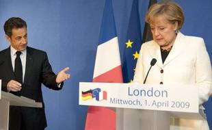 Nicolas Sarkozy et Angela Merkel, le 1er avril 2009 à Londres.