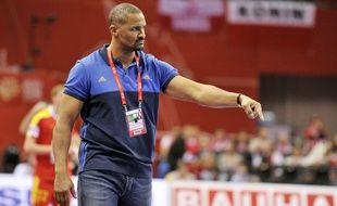 Didier Dinart, le coach de l'équipe de France de handball, le 15 janvier 2016 lors d'un match de l'Euro contre la Macédoine.