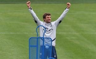 L'attaquant du Bayern Munich Thomas Mueller à l'entraînement le 5 mai.