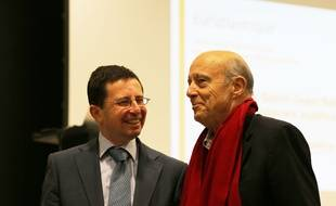 Alain Juppé (à droite) en colpagnie de Stephan de Faÿ, directeur général de l'établissement public Euratlantique.