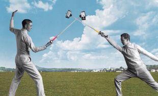 Bataille de perches à selfie, un GIF de Sammy Slabbinck.