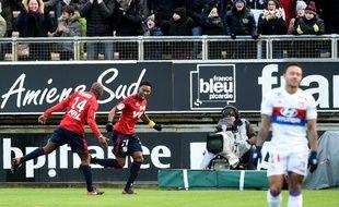 Gakpé célèbre son but contre Lyon, le 10décembre 2017.
