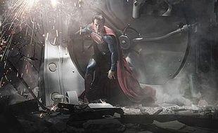Henry Cavill dans le costume de Superman, pendant le tournage de «Man of Steel», en août 2011