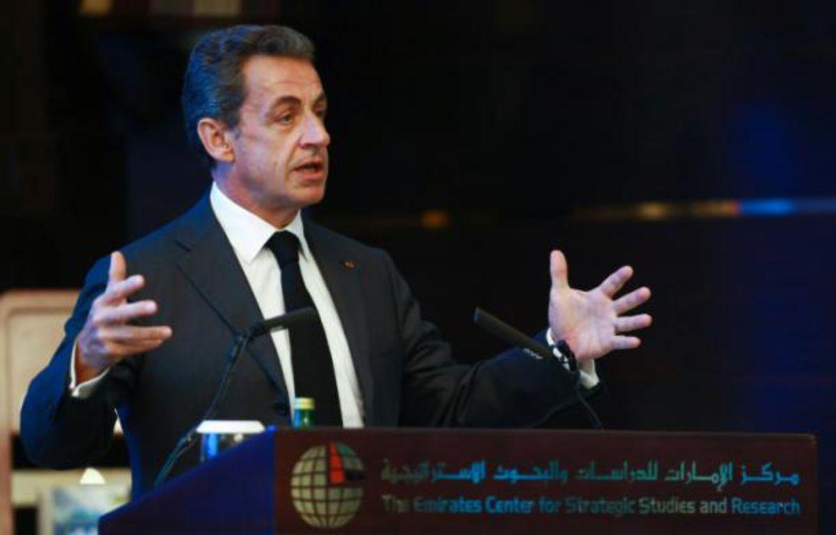 L'ex-président français Nicolas Sarkozy à Abou Dhabi le 13 janvier 2016 –  AFP