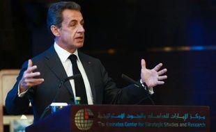 L'ex-président français Nicolas Sarkozy à Abou Dhabi le 13 janvier 2016