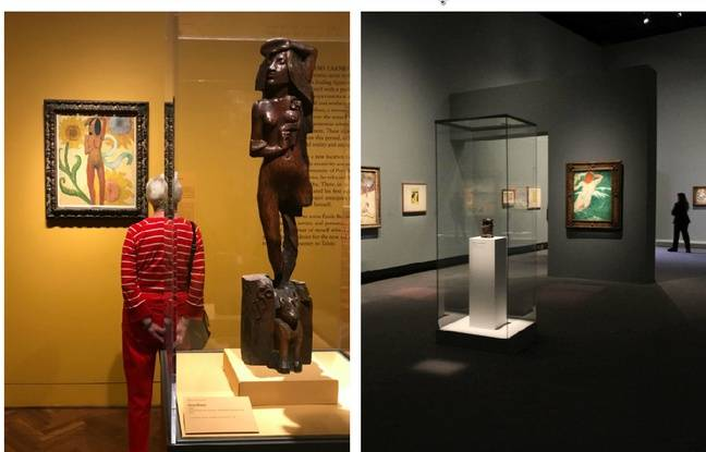 A g. une femme observe une toile de l'exposition «Gauguin - Artist as Alchemist» en juillet 2017 à l'Art Institute de Chicago. A dr., en octobre 2017, la version française de la même exposition, au Grand Palais, à Paris.