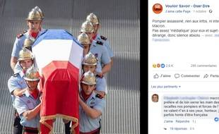 La publication Facebook mensongère sur l'assassinat d'un pompier.
