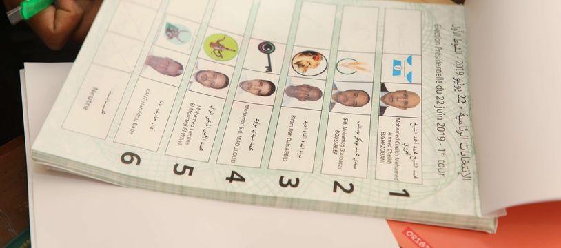 Un bulletin de vote à l'élection présidentielle en Mauritanie, le 22 juin 2019.