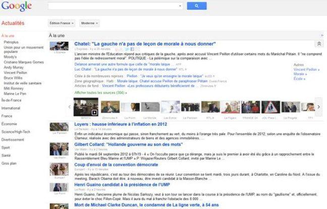 La page d'accueil de Google Actualités.