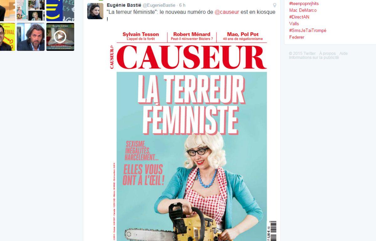 Le magazine Causeur suscite une fois de plus la polémique avec sa une consacrée à  – E. Bastié / Twitter