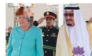 Capture d'écran de la fausse image qui circule sur Angela Merkel