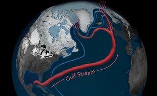 Modélisation du Gulf Stream dans l'océan atlantique.