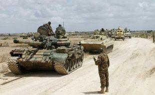 Un convoi de l'Amisom près de Merka, le 4 août 2012, en Somalie