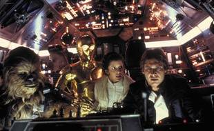 Peter Mayhew, Anthony Daniels, Carrie Fisher,  et Harrison Ford dans «Star Wars, Episode V: L'Empire contre-attaque».