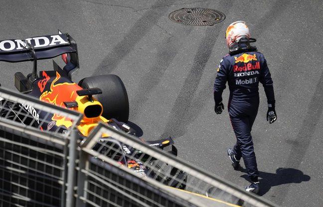 Max Verstappen, très frustré après sa crevaison, synonyme d'abandon en Azerbaïdjan.
