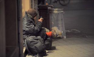 Un sans-abri à Strasbourg.