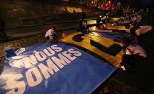 Des activistes du collectif « l' Affaire du Siècle » à Paris, le 14 janvier 2021.