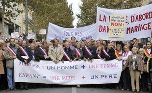 Les opposants au projet de mariage homosexuel espèrent mobiliser dimanche à Paris des centaines de milliers de personnes pour dire non à cette promesse de François Hollande, contestée par les églises, l'UMP et le FN, dont certains cadres défileront.