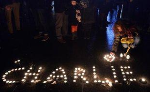 Veillée en mémoire des victimes de l'attaque sanglante ontre le journal satirique français Charlie Hebdo, le 7 janvier 2015 à Strasbourg