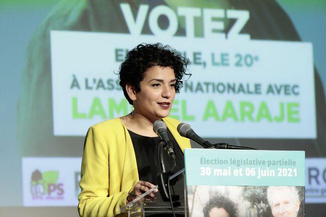 Lamia El Aaraje, candidate PS à la législative partielle du 20e arrondissement de Paris.