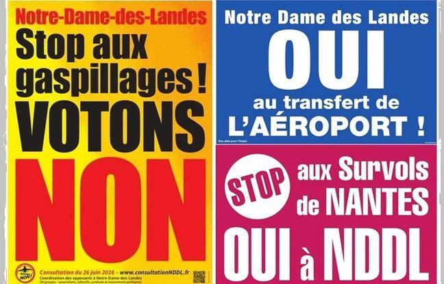Affiches de campagne pour la consultation sur Notre-Dame-des-Landes.