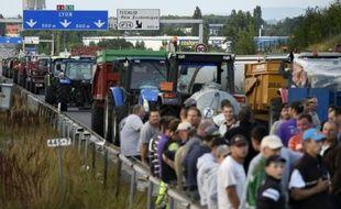Barrage d'éleveurs sur l'A6 à l'entrée de Lyon, le 23 juillet 2015